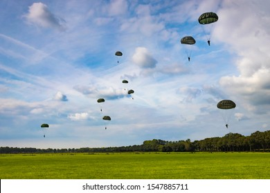 Paratroopers reenacting a jump from a World War 2 (ww2) transport plane during operation Market Garden in Holland / The Netherlands. During the 75 year commemoration at 17th September 2019, Schijndel.