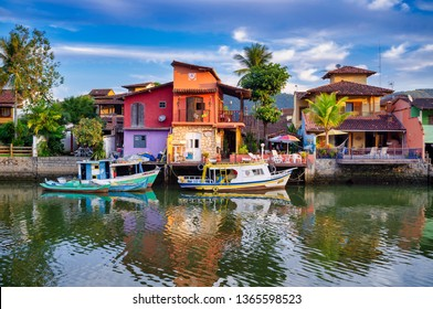 Paraty, Brazil - Sep 18, 2013: Iconic view of the canal and colonial houses of the historic town Paraty, Rio de Janeiro state, Brazil