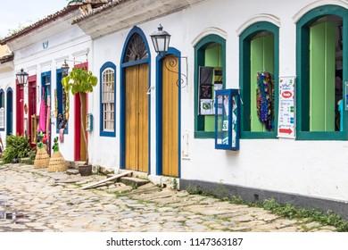 Paraty, Rio de Janeiro, Brazil, January 16, 2014. Colonial Houses in historic village of Paraty, Brazil