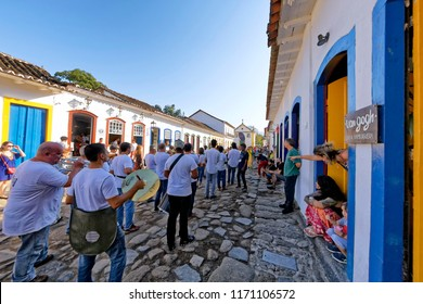 Paraty, Rio de Janeiro, Brazil - July 29, 2018 - Santa Cecilia Musical Society on the streets of Paraty during FLIP - International Literary Festival in Paraty.
