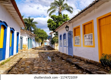Paraty, Rio de Janeiro, Brazil - July 29, 2018 - architecture and ancient streets in the city of Paraty - Rio de Janeiro - Brazil.