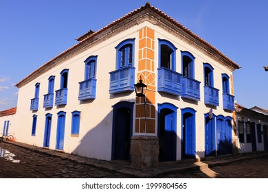 """Paraty, Rio de Janeiro, Brazil - May 28, 2021: Ancient house in Paraty, known as """"Casa da Cultura"""" (Culture House). Paraty is a well preserved Portuguese colonial city and Unesco World Heritage."""