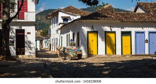 Paraty/Rio de Janeiro/Brazil - August 04th 2014: Colonial Architecture in Historic City of Paraty, a National Historic Landmark by IPHAN (National Historic and Artistic Heritage Institute)