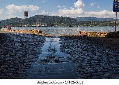Paraty/Rio de Janeiro/Brazil - August 04th 2014: Historic City of Paraty Flooded by Sea Water - National Historic Landmark by IPHAN (National Historic and Artistic Heritage Institute)