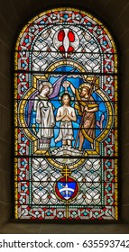 Paray Le Monial, France - September 13, 2016: Stained glass at the Basilica du Sacre Coeur in Paray-le-Monial, France