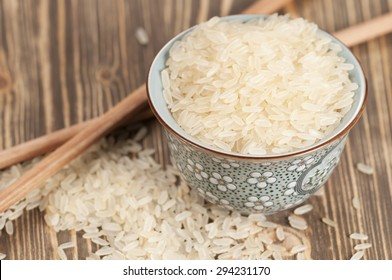 Parboiled rice (raw), closeup shot, local focus