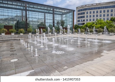 Parc Andre Citroen - Public Park located on left bank of river Seine. Park Andre Citroen was built on site of former Citroen automobile plant. Water fountains. Paris, France.