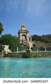 The Parc de la Ciutadella/ Citadel Park water fountain monument in Barcelona, Spain