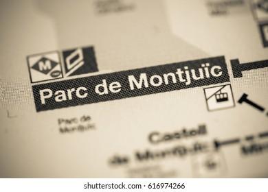 Parc de Montjuic Station. Barcelona Metro map.