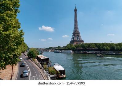 Parc des Rives de Seine with Eiffel Tower in the background
