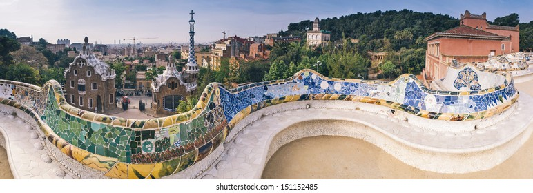 Parc Guell public garden overlooking Barcelona, designed and built by Guadi and Josep Jujol in 1914.