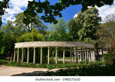 Parc Monceau on a sunny day in Paris, May 7, 2021