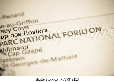 Parc National Forillon. Canada on a map.
