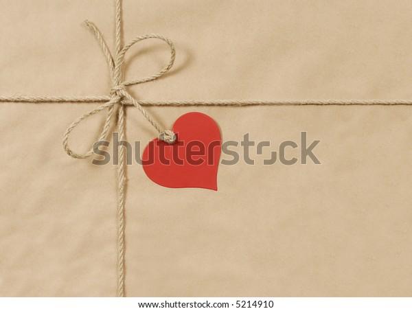 Parcel brown paper background, label