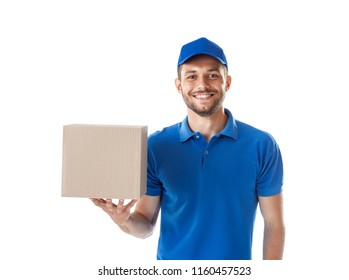 Parcel delivery. Deliveryman holding parcel box isolated on white background