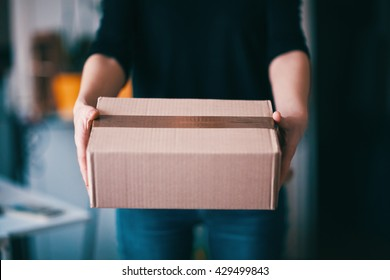 parcel delivery with good depth of field point of view