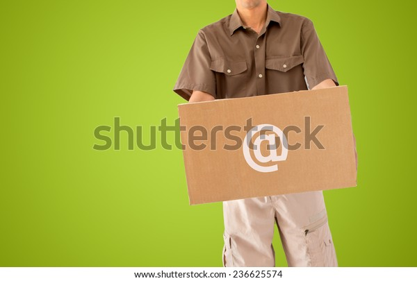 parcel delivery online isolated on green