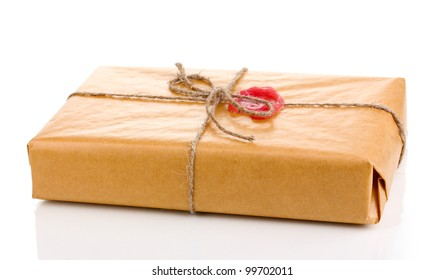Parcel with sealing wax isolated on white