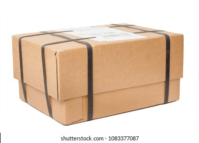 Parcel with strapping isolated on white background