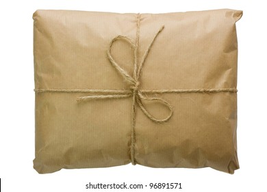 Parcel wrapped with brown paper, tied with string