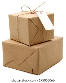 parcels boxes wrapping, isolated on white