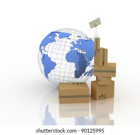 parcels and Earth globe