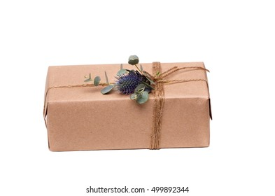 Parcels gift box with kraft paper, isolated image