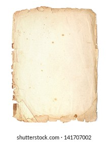 Parchment with ragged edges. Detailed old page paper.