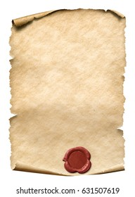 parchment with red wax seal 3d illustration