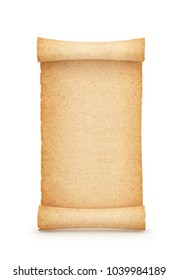 Parchment, scroll, isolated on white background. 3d illustration