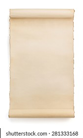 parchment scroll isolated on white background