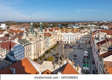 Pardubice, Czech republic. Aerial view of city central square (Pernstynske namesti)