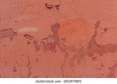 Pared pintada de rojo varias veces. Textura de vector de pintura y fondo de cemento rojo
