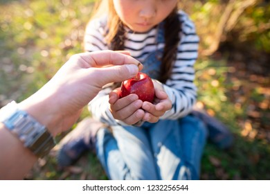 Parent and child hand over an apple