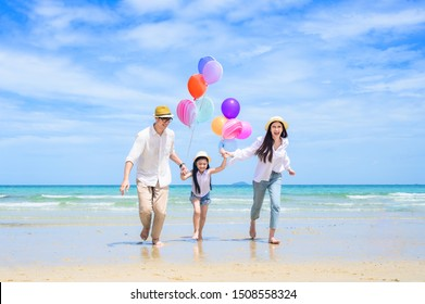Parent father and mother help to holding kid, care and always support to success destination of life, enjoy and happy together on the sea beach of holiday and vacation