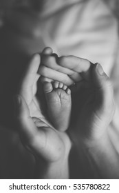 Parent holding in the hands foot of newborn baby.