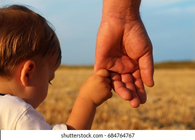 A parent holds the hand of a lovely child. Father and son holding hands in the background of the yellow field of wheat and blue sky.