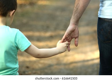The parent holds the hand of a small child. Fathers day