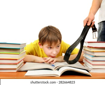 Parent punishing the Son Isolated on the White Background