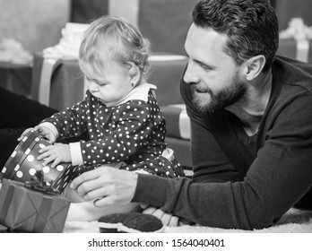 Parenthood goals. Endless love. Parenthood as challenge and achievement. Father play with cute baby toddler daughter. Celebrate first birthday. Happy parenthood. Gift for dearest. Spread happiness.
