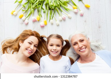 Parenthood motherhood maternity three fashion beauty international woman's day concept. Above top view photo of cute sweet charming lovely carefree beautiful pretty granny schoolgirl mum
