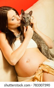 Parenthood, waiting for baby, toxoplasmosis problem concept. Adult woman showing her big pregnant belly holding cat.