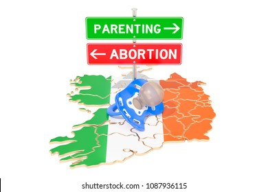 Parenting or aborting road signpost, referendum in Ireland. 3D rendering isolated on white background