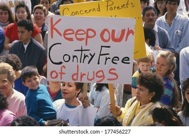 Parents at an anti-drug rally, East Los Angeles, CA