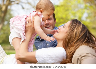 Parents With Baby Girl Sitting In Field Of Summer Flowers