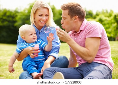 Parents Blowing Bubbles For Young Boy In Garden