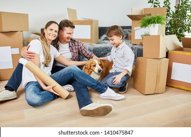 Parents with child and dog moving to condominium or new house