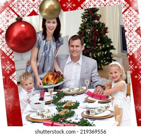 Parents and children celebrating Christmas dinner with turkey against christmas themed page