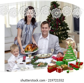 Parents and children celebrating Christmas dinner with turkey against snowflake frame