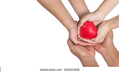 Parents and children hands (isolated on white background with clipping path) supporting red heart together for life insurance, organ donor donation and family protection health assurance concept